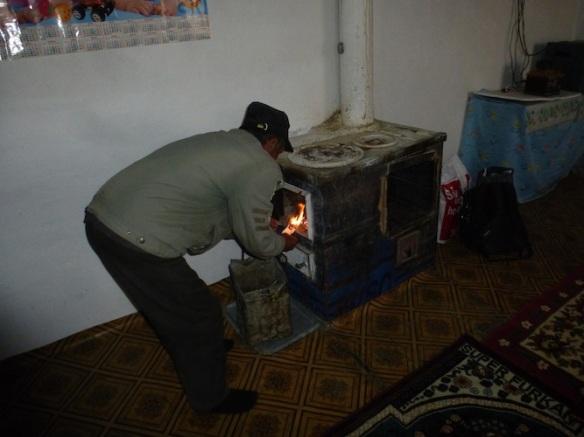 Yak dung fire