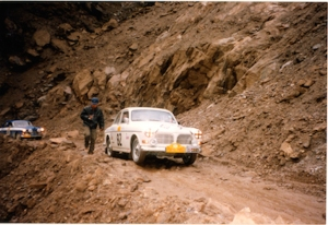Car 82 negotiates the 'road' from Choksam in Tibet down to the Nepal border